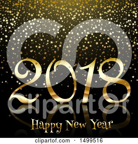 Clipart of a Golden Happy New Year 2018 Design with Confetti Stars - Royalty Free Vector Illustration by KJ Pargeter