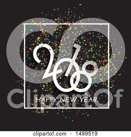 Clipart of a Happy New Year 2018 Design with Colorful Confetti on Black - Royalty Free Vector Illustration by KJ Pargeter