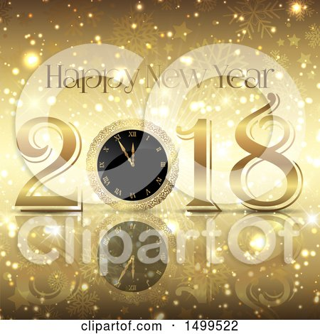 Clipart of a Happy New Year 2018 Greeting with a Clock on Gold Snowflakes Stars and Flares - Royalty Free Vector Illustration by KJ Pargeter