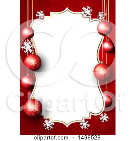 Clipart of a Christmas Border with 3d Baubles and Snowflakes on Red - Royalty Free Vector Illustration by KJ Pargeter