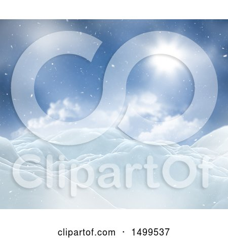 Clipart of a 3d Winter Landscape with Snowy Hills Under a Sunny Sky - Royalty Free Illustration by KJ Pargeter