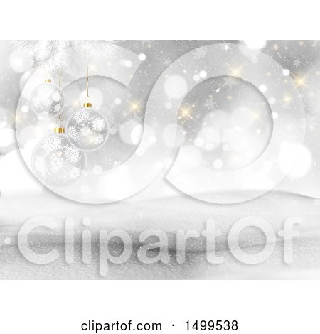 Clipart of a 3d Winter Landscape with Snowy Hills Flares and Glass Baubles - Royalty Free Illustration by KJ Pargeter