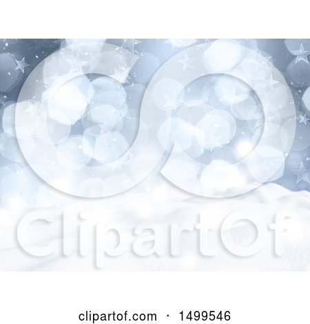 Clipart of a 3d Winter Landscape with Snowy Hills Flares and Stars - Royalty Free Illustration by KJ Pargeter