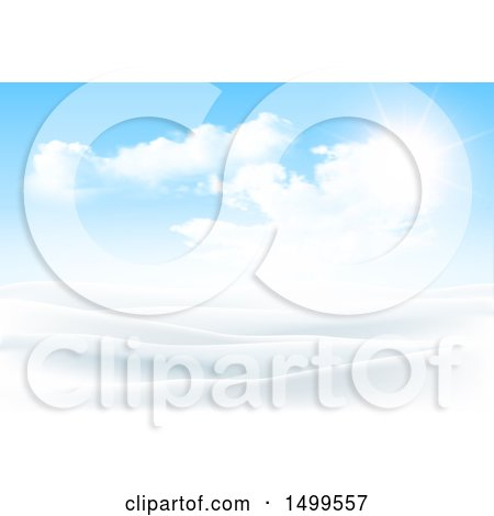 Clipart of a Snowy Winter Landscape with a Sunny Sky - Royalty Free Vector Illustration by KJ Pargeter