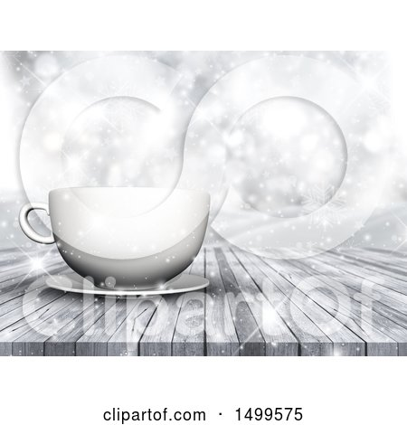 Clipart of a 3d White Coffee Cup and Saucer on a Wood Surface over a Winter Landscape - Royalty Free Illustration by KJ Pargeter