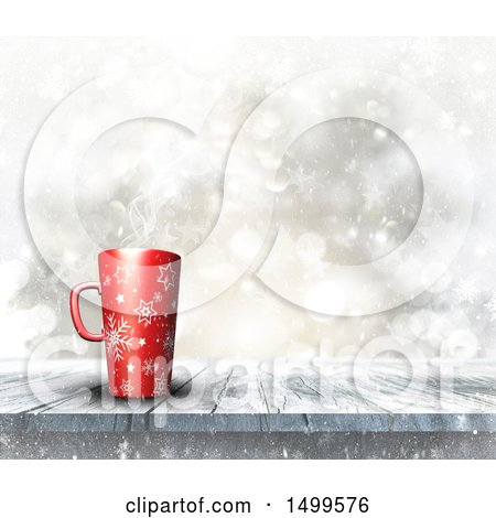 Clipart of a 3d Red Snowflake Christmas Coffee Cup on a Wood Surface over a Flares - Royalty Free Illustration by KJ Pargeter