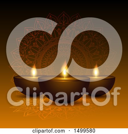Clipart of a Diwali Lamp and Mandala Background - Royalty Free Vector Illustration by KJ Pargeter