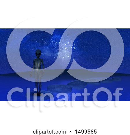 Clipart of a 3d Alien on Stepping Stones in a Still Lake - Royalty Free Illustration by KJ Pargeter