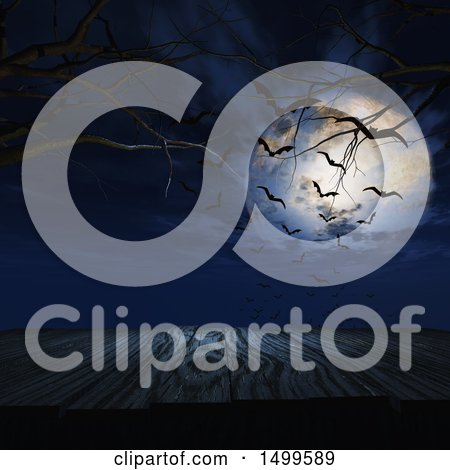 Clipart of a 3d Wooden Surface Under a Full Moon with Bats - Royalty Free Illustration by KJ Pargeter