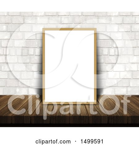 Clipart of a 3d Blank White Frame or Picture Frame on a Wood Table, Leaning Against a White Brick Wall - Royalty Free Illustration by KJ Pargeter