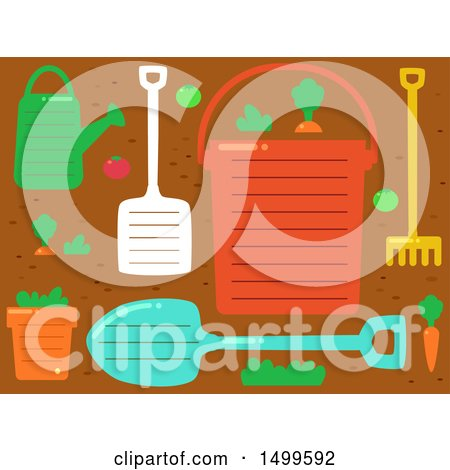 Clipart of a Background of Garden Tools with Ruled Lines and Text Space - Royalty Free Vector Illustration by BNP Design Studio