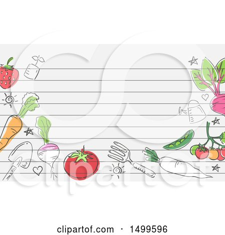 Clipart of a Border of Garden Tools and Produce with Ruled Lines and Text Space - Royalty Free Vector Illustration by BNP Design Studio