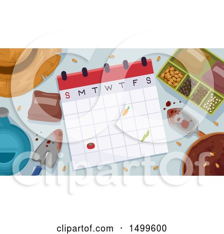 Clipart of a Calendar with Garden Tools and Seeds - Royalty Free Vector Illustration by BNP Design Studio