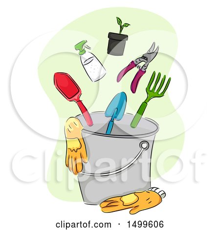 Clipart of a Sketched Bucket with Garden Gloves and Tools - Royalty Free Vector Illustration by BNP Design Studio