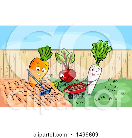Clipart of a Carrot Beet and Radish Gardening - Royalty Free Vector Illustration by BNP Design Studio