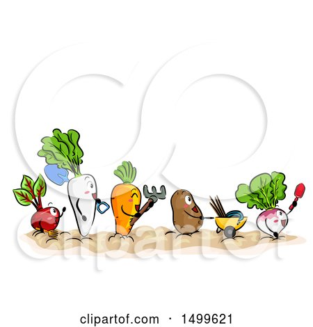 Clipart of a Line of Vegetable Mascots with Garden Tools - Royalty Free Vector Illustration by BNP Design Studio