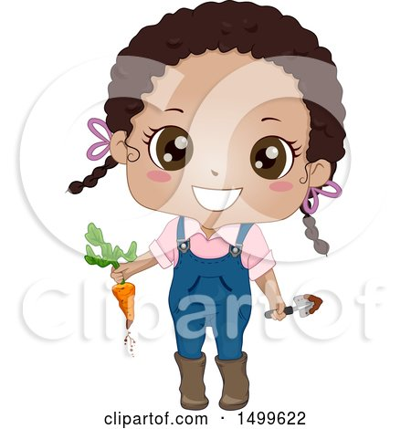 Clipart of a Cute Black Girl Holding a Carrot Freshly Picked from Her Garden - Royalty Free Vector Illustration by BNP Design Studio