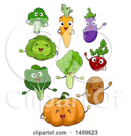 Clipart of Happy Vegetable Character Mascots - Royalty Free Vector Illustration by BNP Design Studio