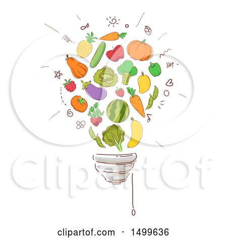 Clipart of a Sketched Light Bulb of Produce - Royalty Free Vector Illustration by BNP Design Studio