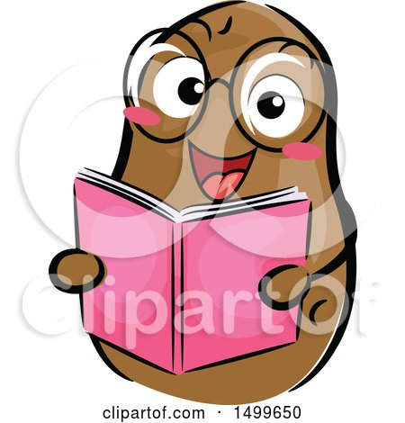 Clipart of a Happy Potato Character Mascot Reading a Book - Royalty Free Vector Illustration by BNP Design Studio