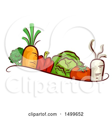 Clipart of a Border of Veggies - Royalty Free Vector Illustration by BNP Design Studio
