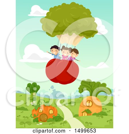 Clipart of a Group of Children Floating in a Broccoli and Tomato Hot Air Balloon over Veggies - Royalty Free Vector Illustration by BNP Design Studio