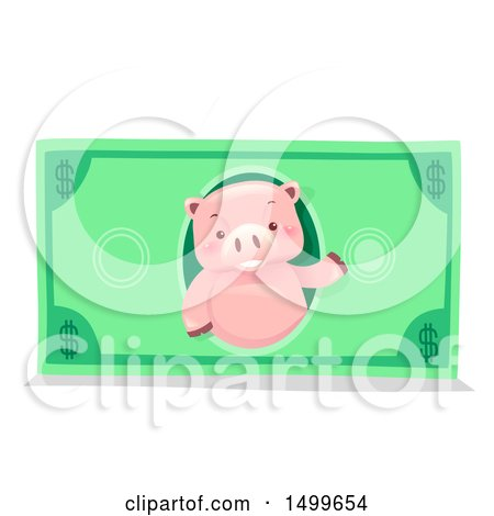 Clipart of a Piggy Bank Mascot on a Dollar Bill - Royalty Free Vector Illustration by BNP Design Studio
