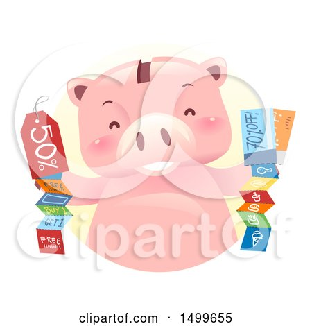 Clipart of a Piggy Bank Mascot with Coupons - Royalty Free Vector Illustration by BNP Design Studio