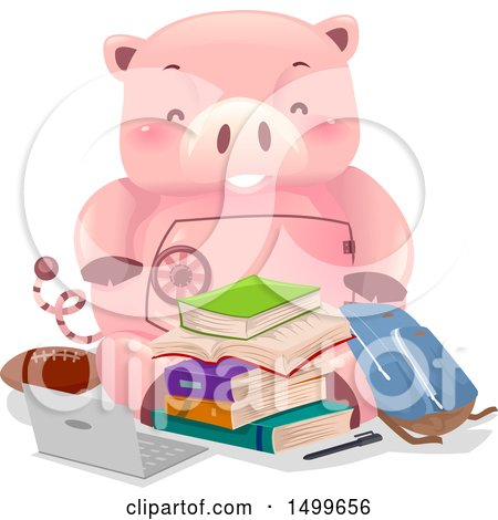Clipart of a Piggy Bank Vault Mascot with College Items - Royalty Free Vector Illustration by BNP Design Studio