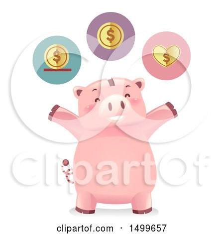 Clipart of a Cheering Piggy Bank Mascot with Save Spend and Share Icons - Royalty Free Vector Illustration by BNP Design Studio