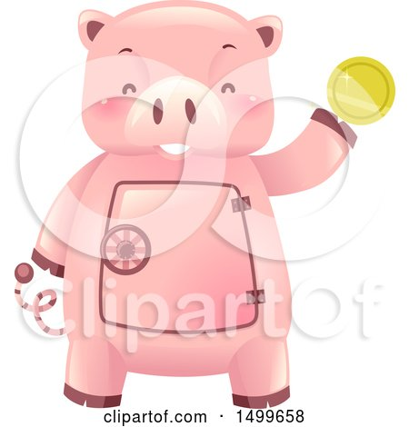 Clipart of a Piggy Bank Vault Mascot Holding a Gold Coin - Royalty Free Vector Illustration by BNP Design Studio