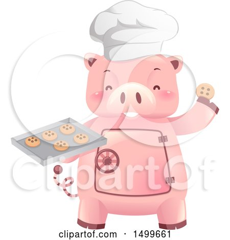 Clipart of a Piggy Bank Vault Mascot Holding a Baking Tray of Cookies - Royalty Free Vector Illustration by BNP Design Studio