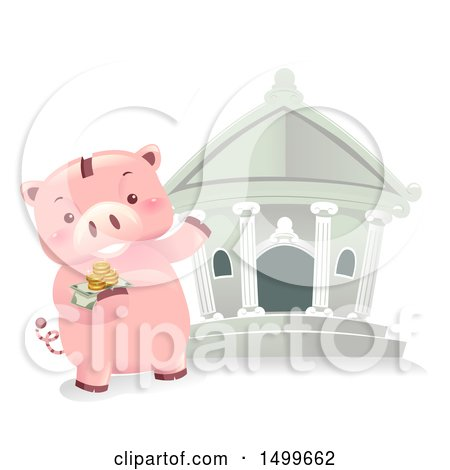 Clipart of a Piggy Bank Mascot Taking Money to the Bank - Royalty Free Vector Illustration by BNP Design Studio