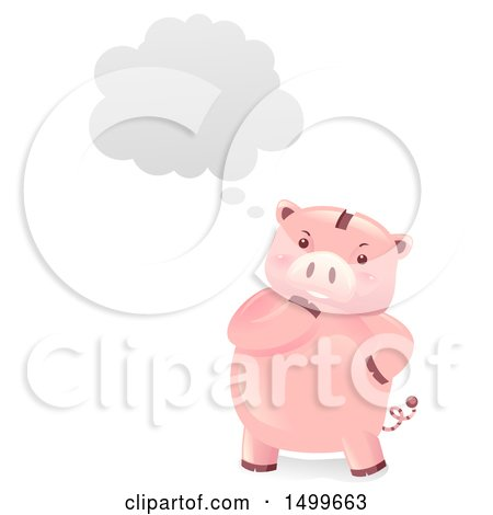 Clipart of a Piggy Bank Mascot Thinking - Royalty Free Vector Illustration by BNP Design Studio