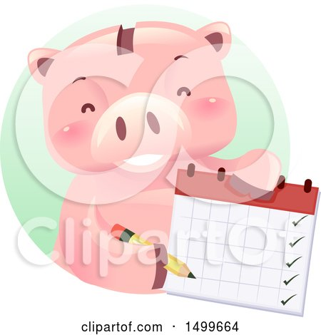 Clipart of a Piggy Bank Mascot Holding a Calendar - Royalty Free Vector Illustration by BNP Design Studio