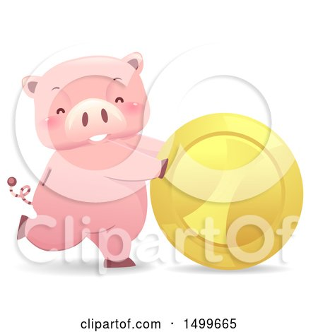 Clipart of a Piggy Bank Mascot Rolling a Giant Gold Coin - Royalty Free Vector Illustration by BNP Design Studio