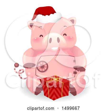 Clipart of a Piggy Bank Mascot with a Christmas Gift - Royalty Free Vector Illustration by BNP Design Studio