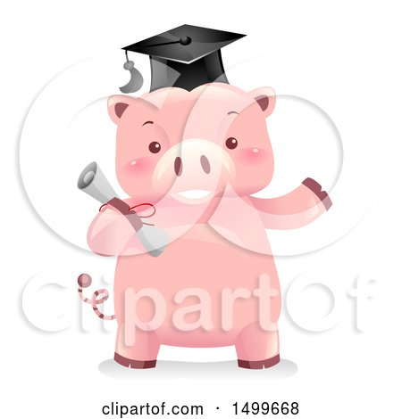 Clipart of a Graduate Piggy Bank Mascot Holding a Diploma - Royalty Free Vector Illustration by BNP Design Studio