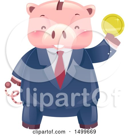 Clipart of a Business Man Piggy Bank Mascot Holding up a Gold Coin - Royalty Free Vector Illustration by BNP Design Studio
