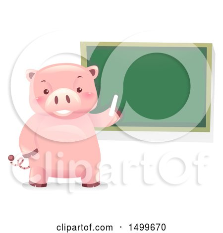 Clipart of a Piggy Bank Mascot by a Chalkboard - Royalty Free Vector Illustration by BNP Design Studio