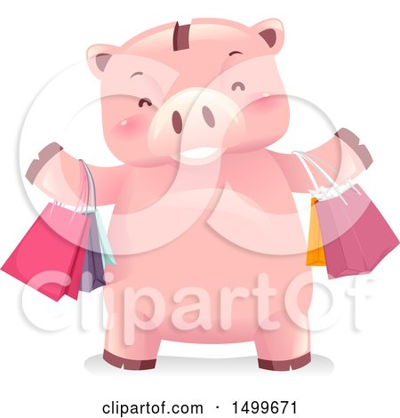 Clipart of a Piggy Bank Mascot with Shopping Bags - Royalty Free Vector Illustration by BNP Design Studio