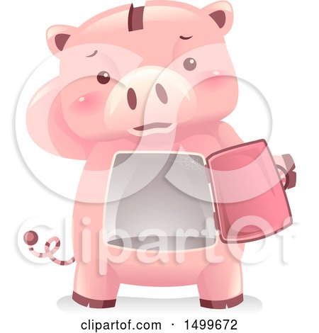 Clipart of a Piggy Bank Mascot Revealing a Dusty Empty Vault - Royalty Free Vector Illustration by BNP Design Studio