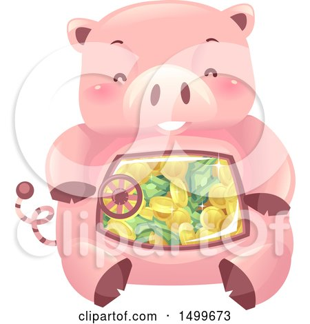 Clipart of a Piggy Bank Vault Mascot with a View into His Belly - Royalty Free Vector Illustration by BNP Design Studio