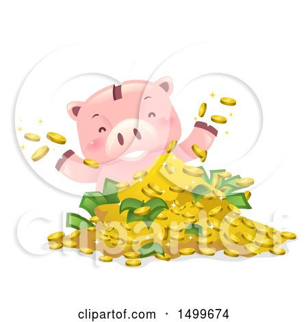 Clipart of a Piggy Bank Mascot Playing in a Pile of Money - Royalty Free Vector Illustration by BNP Design Studio