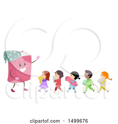 Clipart of a Bedtime Story Book Mascot with a Line of Kids in Pajamas - Royalty Free Vector Illustration by BNP Design Studio