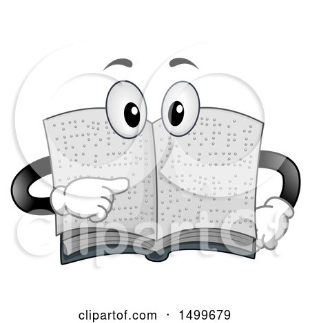 Clipart of a Braille Book Character Mascot Pointing to Its Page - Royalty Free Vector Illustration by BNP Design Studio