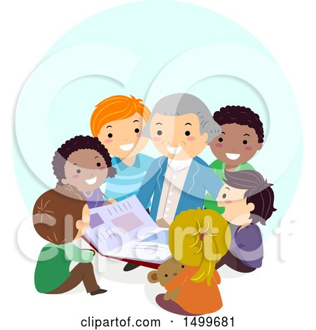 Clipart of a Group of Kids Sitting Around George Washington - Royalty Free Vector Illustration by BNP Design Studio