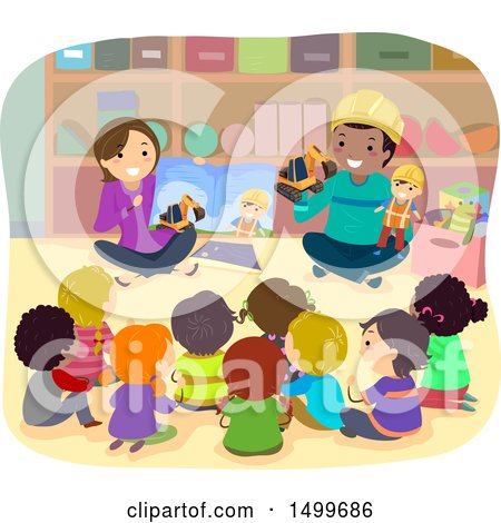 Clipart of a Group of School Children Listening to a Construction Story - Royalty Free Vector Illustration by BNP Design Studio