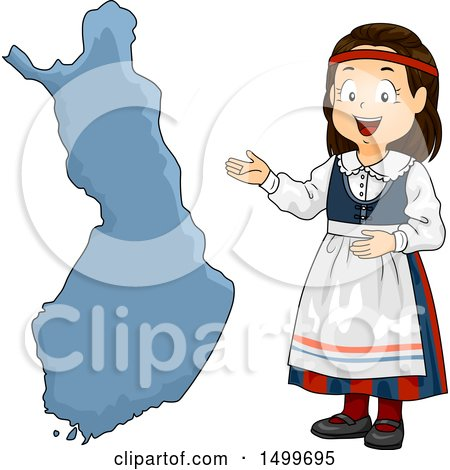 Clipart of a Finnish Girl Presenting a Finland Map - Royalty Free Vector Illustration by BNP Design Studio