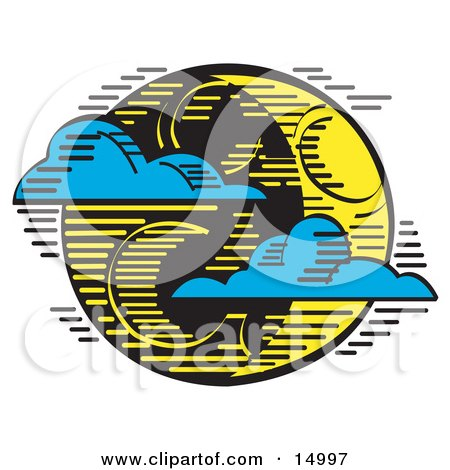 Blue Clouds Travelling On The Wind And Passing In Front Of A Crescent Moon On Halloween Clipart Illustration by Andy Nortnik
